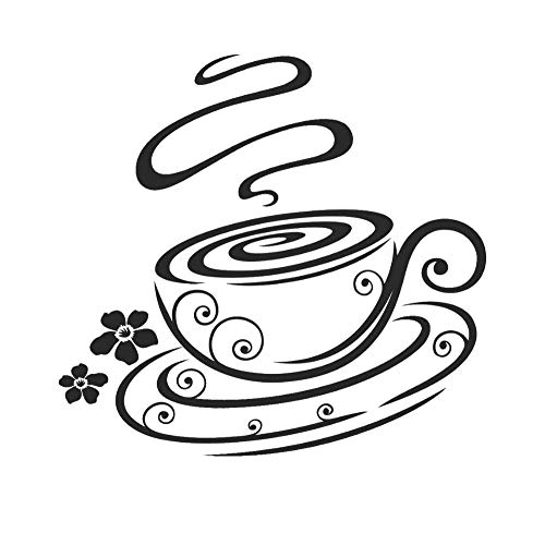SUPWALS Wandtattoos Aromatische Tasse Kaffee Silhouette Wandaufkleber Aufkleber Für Coffee Shop Wandkunst Dekoration 57X54Cm