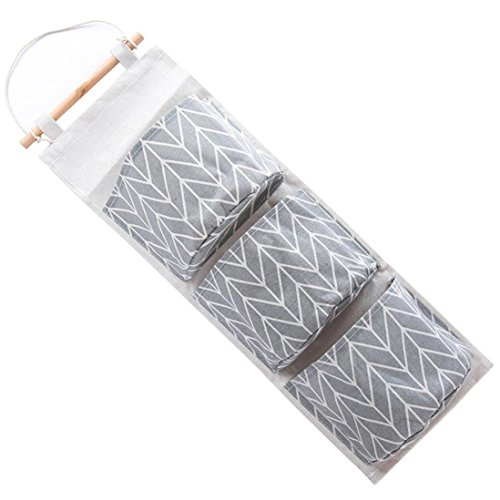 Storage Bag,IEason Clearance Sale! Wall Mounted 3 Bags Storage Bag Kitchen Supplies Fluid Systems Multilayer Bags (Gray)
