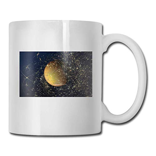 Daawqee Becher Porcelain Coffee Mug Abstract Planet Ceramic Cup Tea Brewing Cups for Home Office