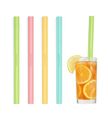 SLIDERSTRAW - Silico lang - NEU Patentiert: Reinigung ohne Bürste! Silikon - wiederverwendbare Strohhalme/Mehrweg Trinkhalme für Kinder, Feiern & Party und heiße Getränke wie Kaffee/Tee (bunt)