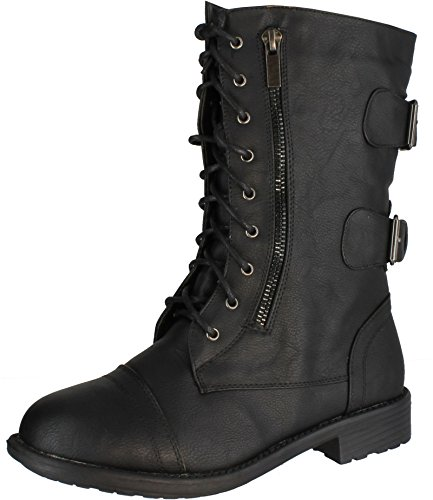 TOP Moda Pack-72 Women's Fashion Mid Calf Low Heel Combat Military Zipper Lace Up Shoes (9, Black)