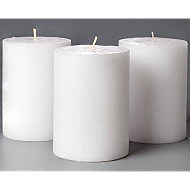 Melt Candle Co White Pillar Candles 3  x 4  Set of 3 Unscented for Weddings, Home Decoration, Relaxation, Church, Spa, Smokeless Cotton Wick