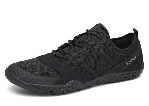 Voovix Damen Herren Barfußschuhe Traillaufschuhe Fitnessschuhe Laufschuhe Atmungsaktiv rutschfest schwarz45