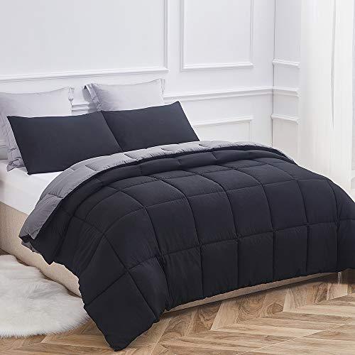 Decroom Lightweight Comforter Set, Down Alternative Quilted Duvet Insert,Moisture-Wicking Treament, Soft for All Season Reversible Comforter, Black/Grey, Full/Queen