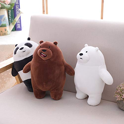 CGDZ Plüschspielzeug 3pcs / Lot 27cm Kawaii wir bloße Bären Plüschspielzeug-Karikatur-Bär angefüllter Grauer weißer Bär des Pizzas Panda-Puppe scherzt Liebes-Geburtstags-Geschenk