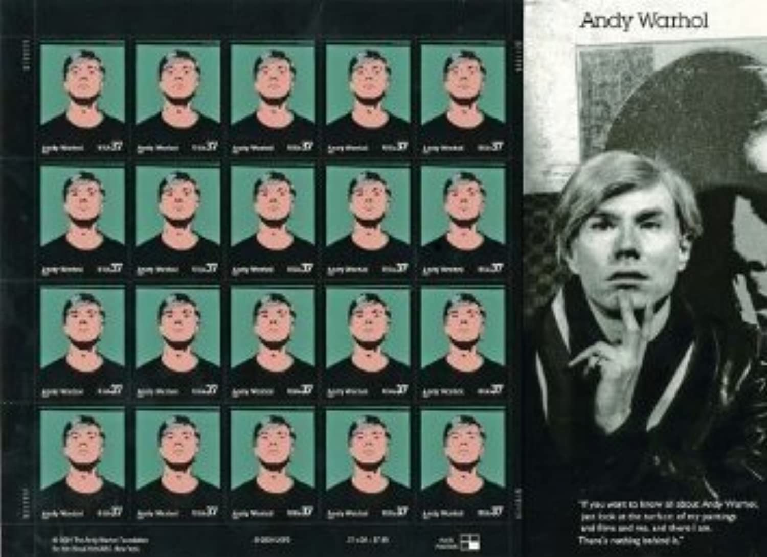 Andy Warhol Sheet of Twenty 37 Cents Stamps Scott 3652 by USPS