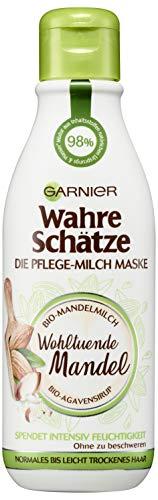 Garnier Wahre Schätze Pflege-Milch Maske Wohltuende Mandel, Haarpflege mit Mandelmilch und Agavensirup, Haarmaske, 250 ml