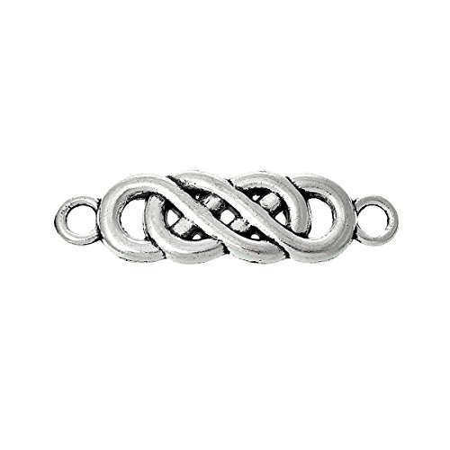 Twist Infinity Symbol Connectors Findings, Celtic Look, Antique Silver Tone Small 22.0mm x 6.0mm (Almost 1 Inch Long), 45 PCs