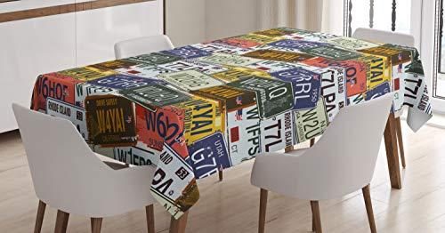 ABAKUHAUS Estados Unidos Mantele, Retro Auto Placas, Estampado con la Última Tecnología Lavable Colores Firmes, 140 x 200 cm, Multicolor