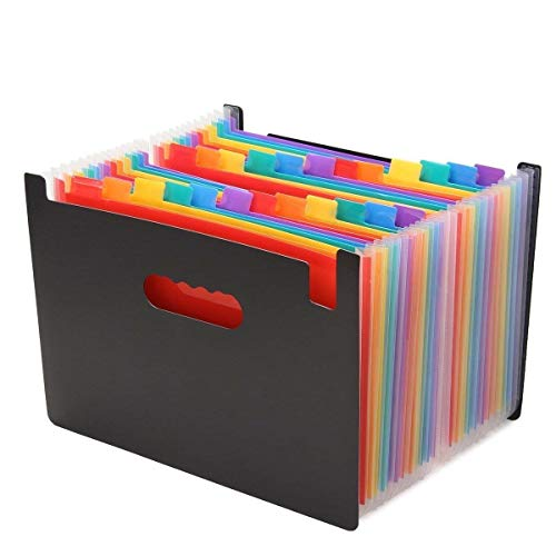 Trieur Valisette Accordéon A4 Classeur Pochettes 24 Compartiments Porte-documents Extensible