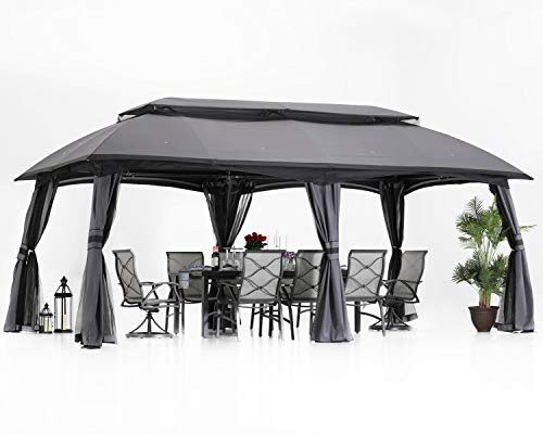 ABCCANOPY Gazebo 10x20 Patio Gazebo, Double Soft-top Garden Gazebos with Mosquito Netting for Patios, Yard, Garden or Outdoor Event, Dark Gray