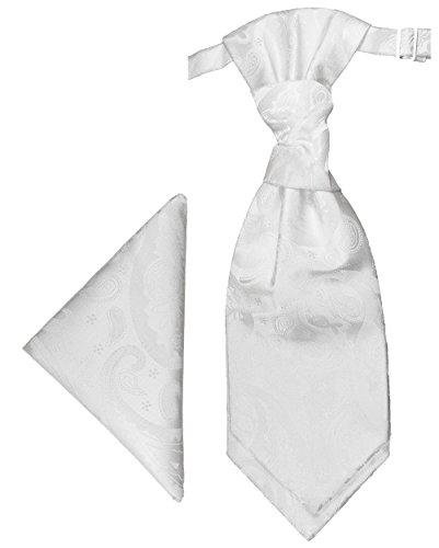 Paul Malone Plastron Set weiss paisley 2tlg Plastron mit Einstecktuch - Hochzeit Krawatte