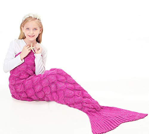 FOCHI Manta Sirena para Niñas, Niños Saco de Dormir de Punto, Regalos de Cumpleaños, Niñas (150 x 70 cm) (Rosa)