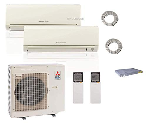 Mitsubishi Dual Zone Ductless Mini Split AC 2 Ton for 2 rooms Cool & Heat SEER 20 Energy Star Wall Mount Split System with 15 ft Lines & Pad