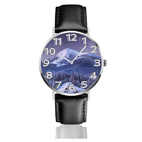 Reloj de Pulsera Mountain Village Rising Moon Durable PU Correa de Cuero Relojes de Negocios de Cuarzo Reloj de Pulsera Informal Unisex