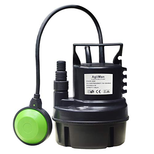 AgiiMan Pool Cover Pump, 1100 GPH Submersible Water Pump for Pool Draining with Adjustable Filter, 16' Drainage Hose and 25' Power Cord, 4 Adapters, Black