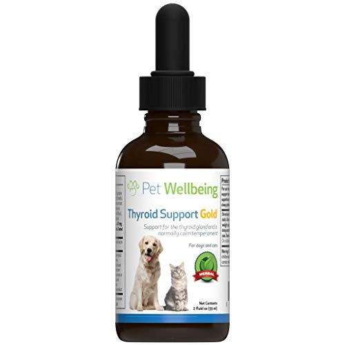 Pet Wellbeing - Thyroid Support Gold for Cats - Natural Support for Feline Thyroid Gland and Normal Calm Temperament - 2oz (59ml)