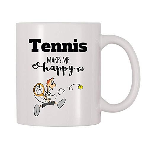 N\\A 4 All Times Tennis Makes Me Happy Taza, Juego, Juego, Deporte, Taza temática de Tenis