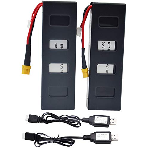 Blomiky 2 Pack 7.4V 1800mAh 13.32Wh Battery 25C Battery and Charger Cable for F100G MJX Bugs3 B3H B3 F100 Quadcopter Drone B30018 B3H Battery 2
