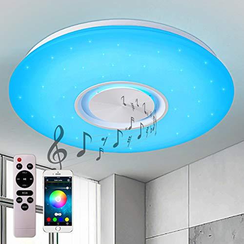 Style home 24W Bluetooth Deckenleuchte RGB LED Deckenlampe mit Lautsprecher, Fernbedienung und APP-Steuerung, Farbwechsel, dimmbar, Sternenhimmel Lampe (400 * 55mm)