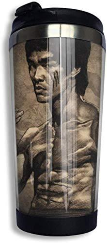 Bruce Lee - Taza de agua con aislamiento para taza de café de acero inoxidable, diseño de taza de viaje