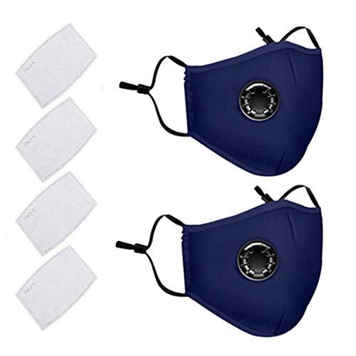 AmyGline Outdoor Baumwolle-Maske-Mundschutz,mit Aktivkohlefilter,Wiederverwendbar,Waschbar,Anti-Staub,Atmungsaktiv,Grau Schwarz,für Radfahren (2, Blau)