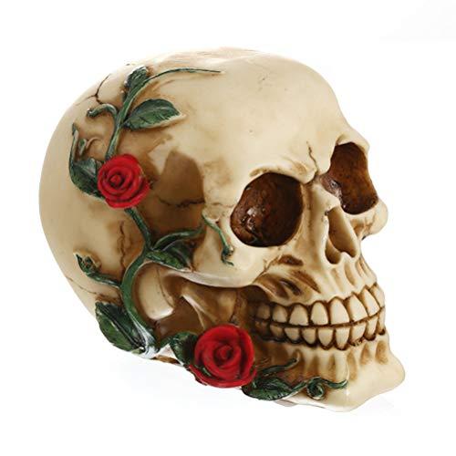 LIOOBO 1 unid decoración de Cabeza de Calavera Loca Flor de Halloween Resina Creativa Cabeza Personalizada Escultura Calavera Cabeza Esqueleto decoración