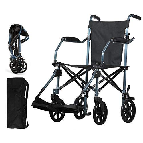 Fire Cloud Lichtgewicht, inklapbare transportrolstoel met in hoogte verstelbare poten, eenvoudige, draagbare stoel, inklapbaar pedaal en rem, zitje van 22 cm (22,8 inch)