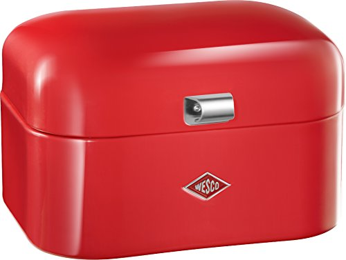 WESCO Single Grandy – German Designed-Steel Bread Box for Kitchen/Storage Container, Red