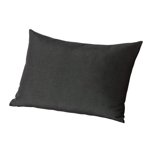 HÅLLÖ Cojín de respaldo, exterior, negro, tamaño 62 x 42 cm, puedes añadir comodidad extra a tu sofá o silla de jardín utilizando este cojín como soporte lumbar o reposabrazos.