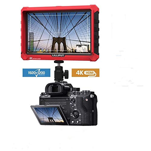 LILLIPUT A7S 7 Inch Camera Field Monitor 4K 1920x1200 IPS Screen HDMI Input Output Video for DSLR Mirrorless Camera A7 A7R A7S III A6500 GH5 GH5s 5D 70D D810 Ronin S (Red with 12V Adapter)