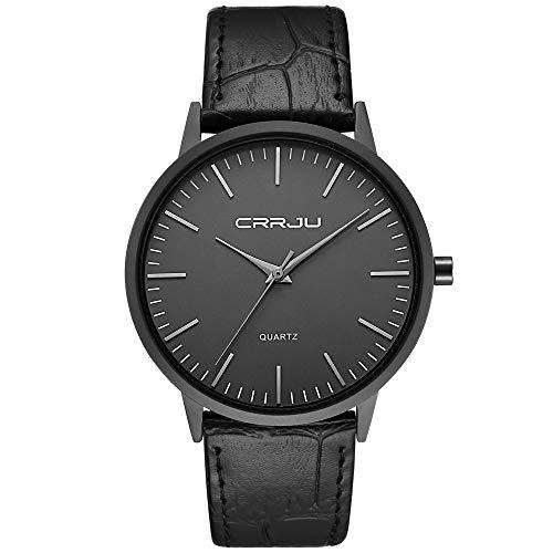 Herren Uhren Ultra Dünne Schwarze Minimalistische Quartz mit Lederband
