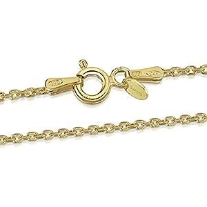 Amberta® Joyería - Collar - Fina Plata De Ley 925-18K Chapado en Oro - Diamante Corte- Cadena de Belcher - 1.3 mm - 40 45 50 55 60 70 cm (50cm)