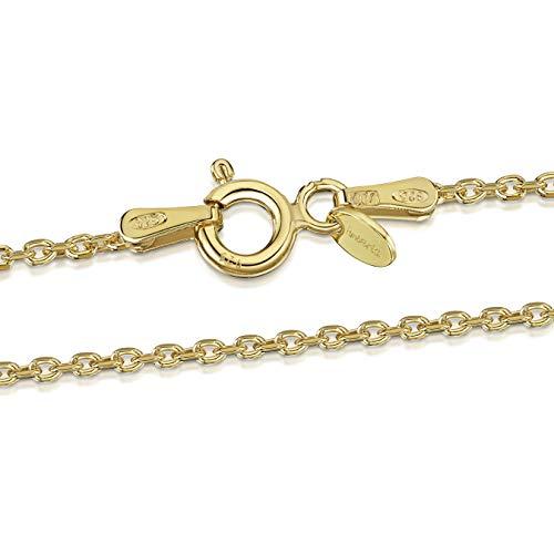 Amberta® Joyería - Collar - Fina Plata De Ley 925-18K Chapado en Oro - Diamante Corte- Cadena de Belcher - 1.3 mm - 40 45 50 55 60 70 cm (45cm)