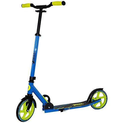 Best Sporting Scooter 205er Rolle, City-Roller aus Aluminium mit ergonomischen Griffen und gebogener Lenkstange, Tretroller in blau/grün