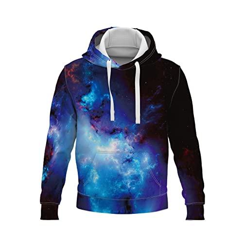s con Capucha, para Hombre de Manga Larga Casual Abrigo Camisas Blusa Impresión Digital 3D de Cielo Estrellado