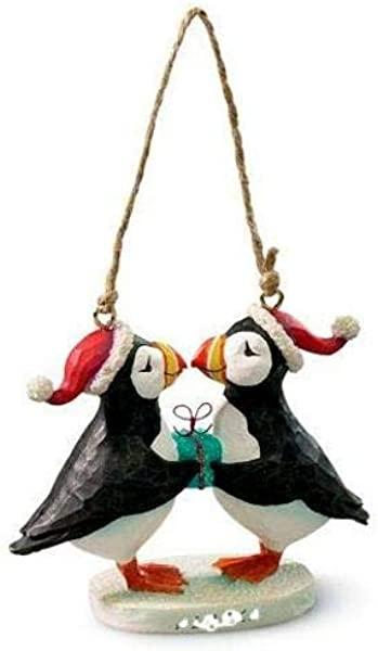 Cape Shore Poly Resin Kissing Puffin Bird With Gift Hanging Ornament