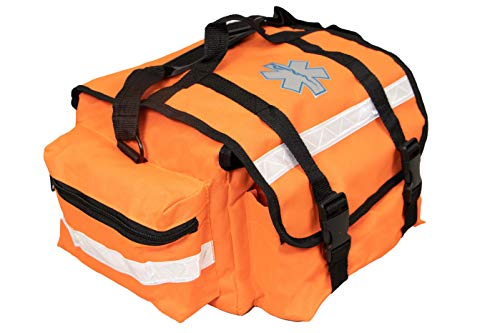 Primacare KB-RO74-O First Responder Bag for Trauma, Professional Multiple Compartment Kit Carrier for Emergency Medical Supplies, Orange, 17 x 7 x 9 inches