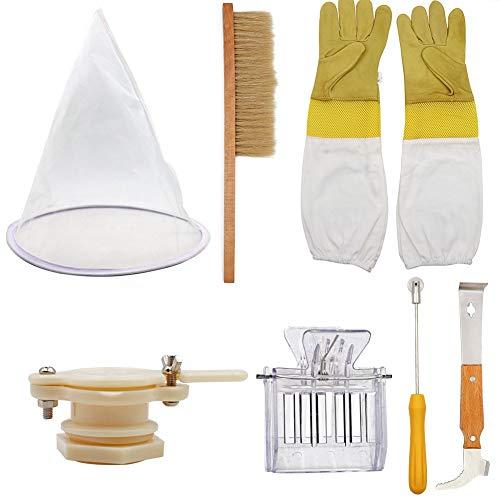 PROBEEALLYU 7PCS Kit de Herramientas para la Apicultura, Cepillo de Abejas Raspador de destapado Recogedor de Alambre en Espiral Filtro de Miel de la válvula de Miel Guantes de Apicultor Conjunto