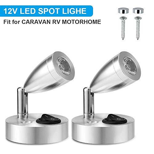 Kacniohen 12V LED-Spot-Leselicht Einstellbare Wohnmobil Wohnwagen Boot Innenbeleuchtung warmes Licht 2Pcs