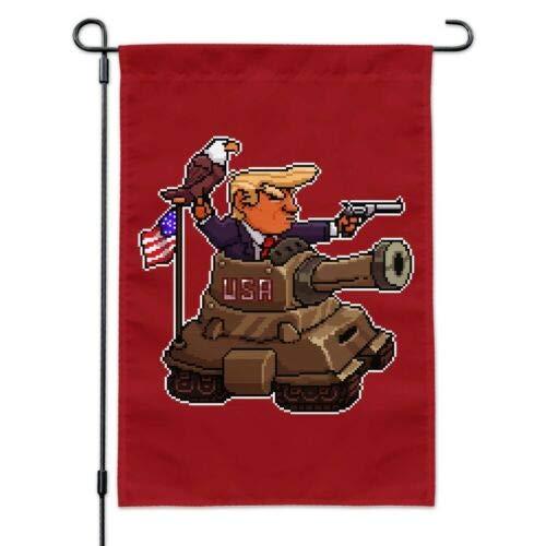 Dom576son Seasonal Garden Flag, 28 x 40 Inch Outdoor Flag, Garden Banner, Patriotic Pixel Trump in Tank with American Eagle Flag Garden Yard Flag