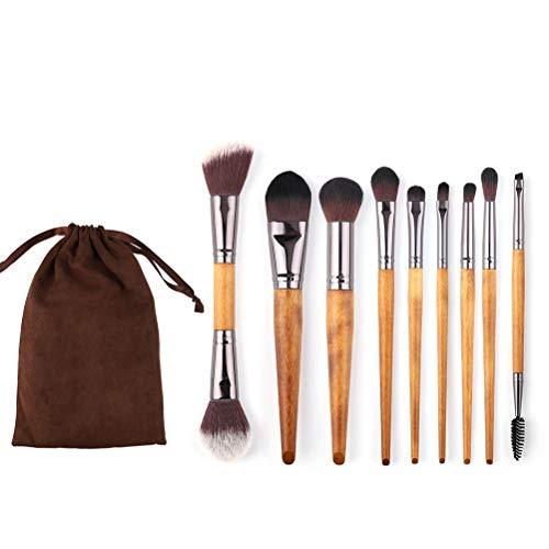 CH-YS 9 Pinceles De Maquillaje, Pincel De Maquillaje De Nogal De Imitación, Principiante, Portátil, Fibra De Belleza Artificial.