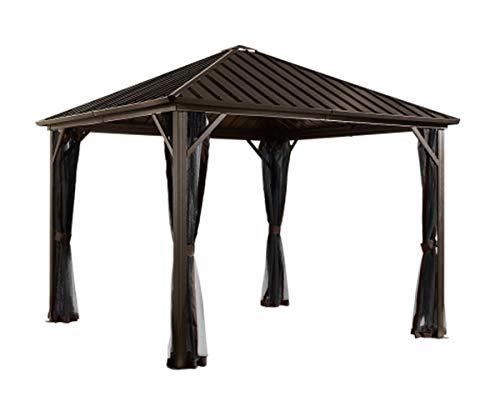 Sojag 10' x 10' Dakota Hardtop Gazebo Outdoor Sun Shelter, Black,Brown