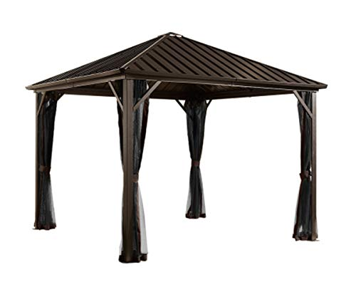 Sojag 10' x 10' Dakota Hardtop Gazebo Outdoor Sun Shelter, Black,Brown