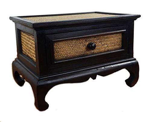 livasia Opiumtisch mit Schublade, Beistelltisch, kl.Couchtisch aus Holz und Rattan