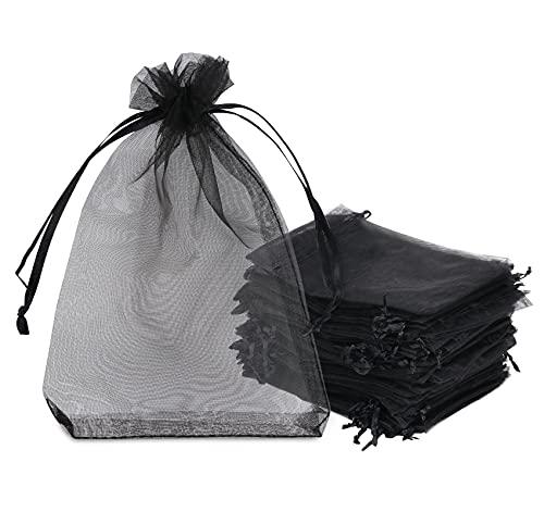 120 Sacs Organza,10x15cm Sachets Pochettes Cadeau en Organza avec Rubans Sac à Bijoux Sachets pour Lavande Sacs de Bonbons Faveur Présent Sacs pour Anniversaire Baptême Fête Décoration Mariage,Noir