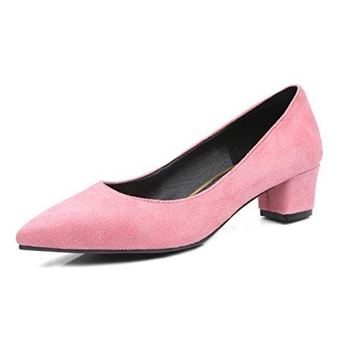 Onewus Damen Elegant Pumps mit Blockabsatz Schuhe für die Datierung & Arbeit (Pink, 45 EU)