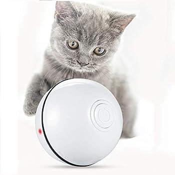 Jouet Interactif pour Chat, Hospaop Balle Lumineuse pour Chat avec Lumière LED et Batterie Rechargeable USB, Boule Auto-Rotative à 360 Degrés pour Animaux Chats Chiots (Blanc)