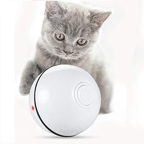 Bola de Gato, Hospaop Juguetes para Gatos Pelotas, Carga USB Bola Giratoria Automática con luz LED y Rotación de 360 Grados para Animal Doméstico Gatos y Perros( Blanco)