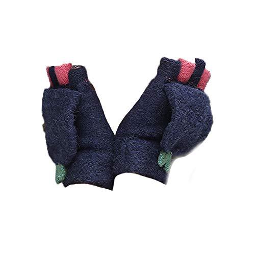 Billty Frauen Flip Top Handschuhe Mädchen Halbfinger-Handschuhe wärmer Fingerlose Fäustlinge Hand mit Abdeckungen Outdoor Sport Thermohandschuhe blau Navy 15.5 * 8cm